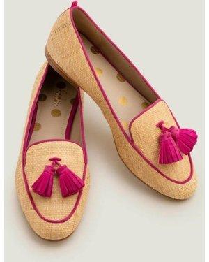 Rebecca Raffia Loafers Pink Women Boden, Pink