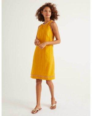 Romaine Linen Dress Yellow Women Boden, Yellow
