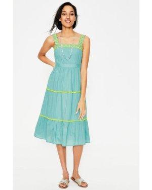 Estella Embroidered Midi Dress Blue Women Boden, Blue