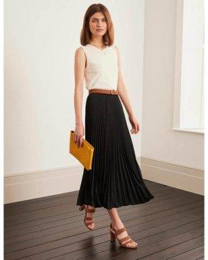 Kristen Pleated Skirt Black Women Boden, Black