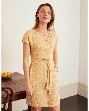 Lara Linen Dress Yellow Women Boden, Yellow