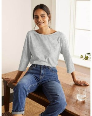 The Cotton Boxy Boatneck Tee Navy Women Boden, Navy