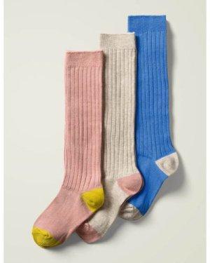 Ribbed Knee High Socks 3 Pack Multi Girls Boden, Multicouloured