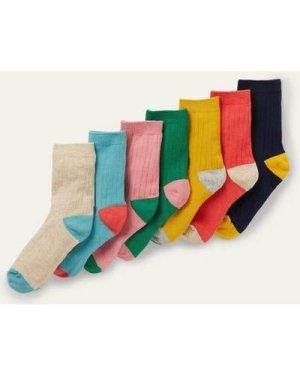 Ribbed Socks 7 Pack Multi Girls Boden, Multicouloured