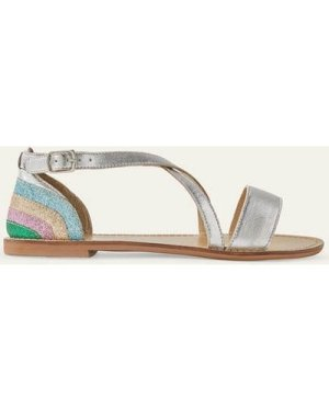 Leather Crossover Sandals Silver Girls Boden, Silver