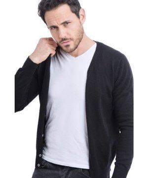 C&Jo C&JO V-neck Buttoned Cardigan in Black