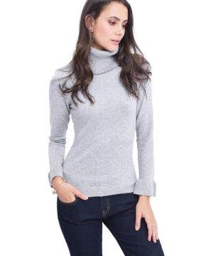 William De Faye Roll Neck Ruffle Sleeve Sweater in Light Grey