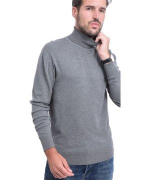C&Jo C&JO Turtleneck Elbow Patch Sweater in Grey