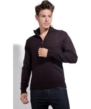 William De Faye Half Zip Sweater with Two-tone Collar in Brown