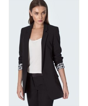 Nife Black jacket with wrapped sleeve in pepito pattern