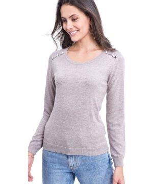 C&Jo C&JO Round Neck Sweater with Shoulder Button Detail in Beige