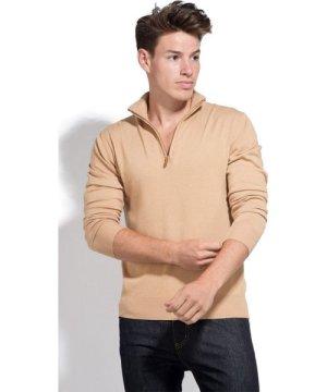 William De Faye Long Sleeve Half Zip Sweater in Beige