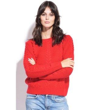 William De Faye Round Neck Twisted Yarn Sweater in Red