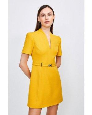 Karen Millen Forever Cinch Belted A Line Dress -, Orange