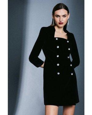 Karen Millen Signature Velvet Button Dress -, Black