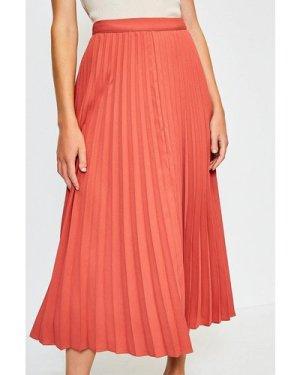 Karen Millen Sunray Pleated Midi Skirt -, Tan