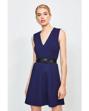 Karen Millen V Neck Ponte Belt Short Sleeve Dress -, Navy