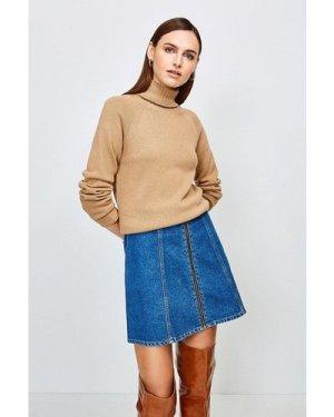 Karen Millen Zip Front Denim Mini Skirt -, Mid Wash