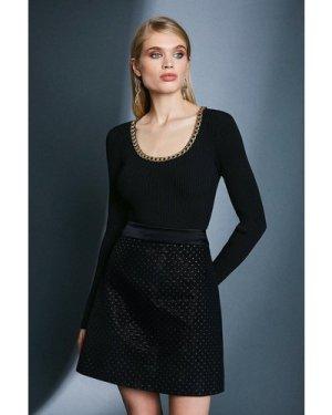 Karen Millen Spot Jacquard A Line Skirt -, Black