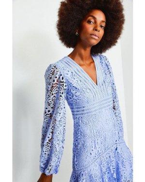 Karen Millen Cutwork Lace Long Sleeve Dress -, Pale Blue