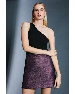 Karen Millen Jacquard Metallic A Line Skirt -, Navy