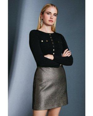 Karen Millen Jacquard Metallic A Line Skirt -, Gold