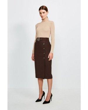 Karen Millen Polished Stretch Wool Blend Pencil Skirt -, Brown
