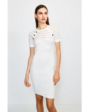 Karen Millen Sheer Stripe Knitted Dress -, Ivory
