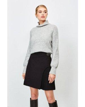 Karen Millen Buckle Detail Pleated Mini Skirt -, Black