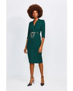 Karen Millen Forever Chain Belt Dress -, Green