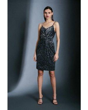 Karen Millen Devore Strappy Knot Dress -, Leopard