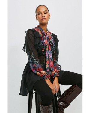 Karen Millen Bold Floral Tie Neck Tunic -, Black