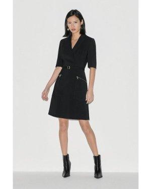 Karen Millen Label Italian Stretch A Line Dress -, Black