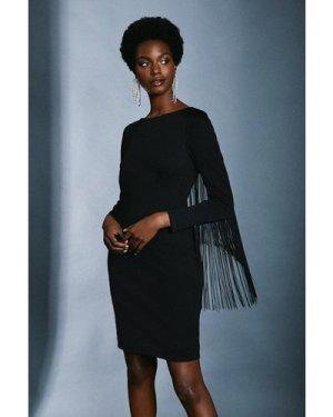 Karen Millen Italian Structured Jersey Fringe Dress -, Black