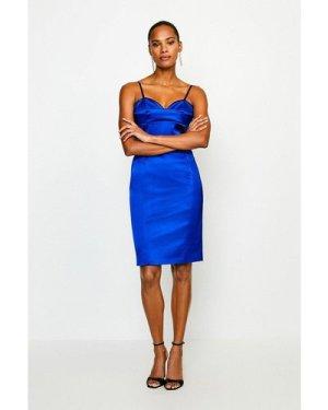 Karen Millen Italian Satin Multi Stitch Pencil Dress -, Blue