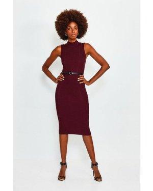 Karen Millen Rivet Shoulder Knitted Dress -, Red