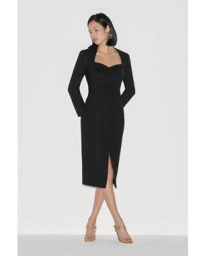 Karen Millen Label Italian Stretch Wool Sleeved Dress -, Black
