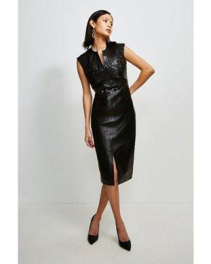 Karen Millen Leather Snaffle Trim Pocket Dress -, Black