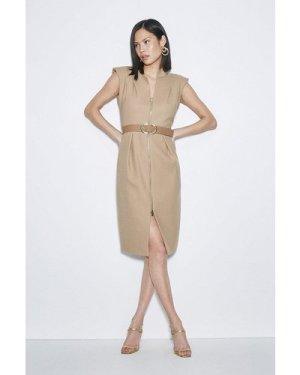 Karen Millen Black Label Italian Stretch Wool Zip Dress -, Camel