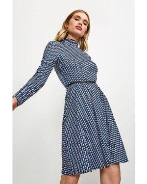 Karen Millen Jersey Belted Funnel Neck Dress -, Geo