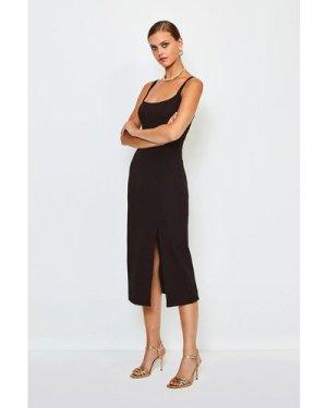 Karen Millen Bodycon Scoop Neck Midi Dress -, Black