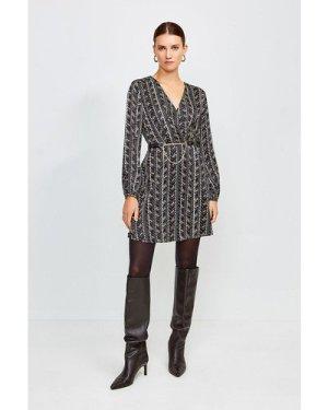 Karen Millen Printed Silk Front Wrap Dress -, Black