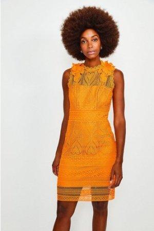 Karen Millen Chemical Lace Sleeveless Dress -, Orange