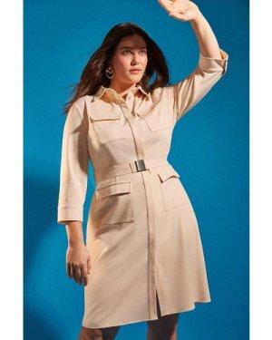 Karen Millen Curve Clean Utility Belted Shirt Dress -, Cream
