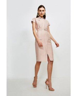 Karen Millen Luxe Stretch Twill Utility Dress -, Pink