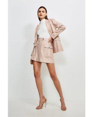 Karen Millen Luxe Stretch Twill Pocket A Line Skirt -, Pink