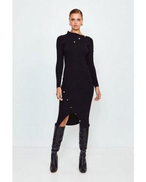 Karen Millen Button Detail Envelope Neck Knitted Dress -, Black