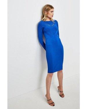 Karen Millen Pointelle Cutwork Knitted Dress -, Blue