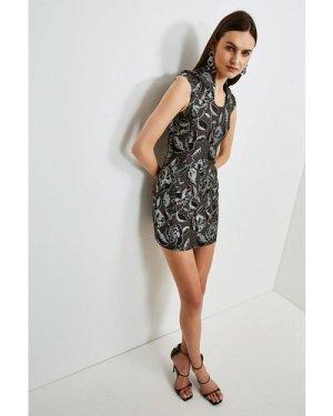 Karen Millen Italian Jacquard Deep Scoop Neck Dress -, Grey