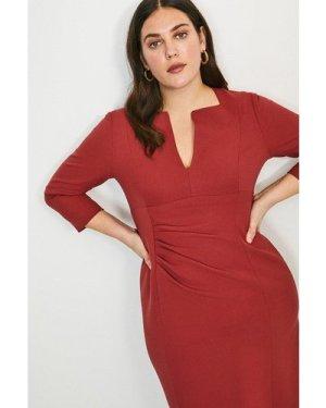 Karen Millen Curve Sleeved Envelope Neck Dress -, Orange